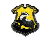 "Harry Potter ""Hufflepuff"" Hogwarts House Crest Inspired - Embroidered Iron-on Patch"