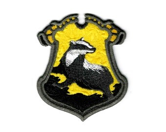 """Harry Potter """"Hufflepuff"""" Hogwarts House Crest Inspired - Embroidered Iron-on Patch"""