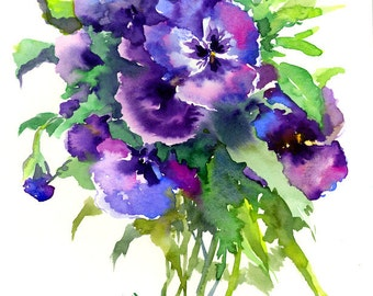Purple Blue Pansies, small watercolor painting, 12 x 9 in, blue purple  floral wall art