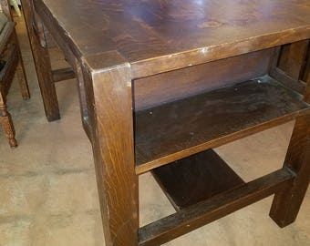 LIBRARY TABLE c1910 California Mission oak, partner desk, Craftsman, Arts & Crafts