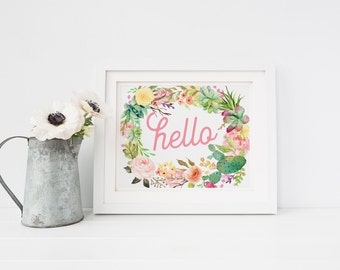 "INSTANT DOWNLOAD printable digital art - ""Hello""  Floral wreath - Horizontal home decor wall art - House Warming gift - SKU:7097"