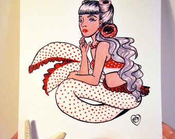 Rockabilly Mermaid Illustration Print