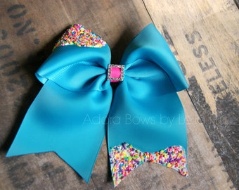 Frosted frosting with sprinkles turquoise blue BIG hair bow OTT  boutique bow clip clippie Deco art realistic cheer bow Lolita hair bow