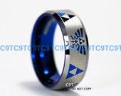 8MM Beveled Tungsten Wedding Ring, Legend of Zelda Inspired Design, Deep Ocean Blue Interior, Custom Engraved