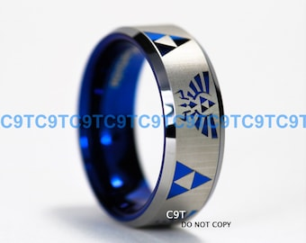 8MM Beveled Tungsten Wedding Ring, Legend of Zelda Inspired Design, Deep Ocean Blue Interior, Custom Engraved