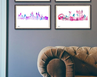 Magic Kingdom Florida Theme Park Watercolor Skylines 4 Pack, Princess Fairy Castle, Animal Zoo, Future World, Tomorrow Land, Wall Art