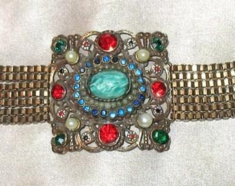 1940s Bracelet, 1930s Bracelet, Hollycraft Unsigned Bracelet from the 1940s, 1930s, 1940s, Hollycraft Bracelet, Hollywood Jewelry Mfg. Co.