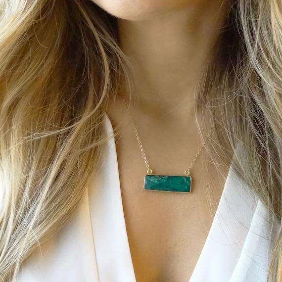 Emerald Quartz Bar Necklace