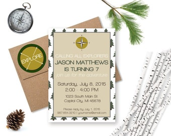 Nature invitation etsy instant download explorer party invitation nature birthday explorer birthday adventure party camping stopboris Gallery