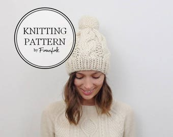 Knitting Pattern | Cable Knit Pom-Pom Hat | THE BELFAST Instant Download