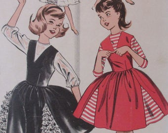 Vintage 1950s  Butterick Girls JUMPER & Full Skirt DRESS Pattern #9557 Size 7