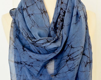 Hand made Blue color scarf.Chiffon scarf.Long neck scarf.Batik scarf.