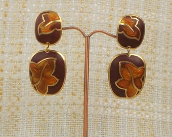 Large Autumn Brown Leaf Berebi Post Earrings  3202