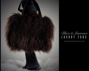 Ultimate Luxury Gift Or Accessory/Breathtaking Hollywood Chocolate Brown Mongolian Tibeten Lamb Fur Purse/Fur Handbag/2017LuxuryCollection