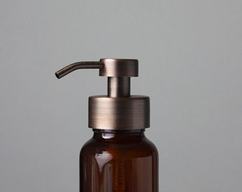 Apothecary Amber Glass Foaming Soap Dispenser with Copper Metal Pump
