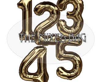 Gold Balloon Digital Downloadable Printable Numbers for Banners Cards Invitations Party Decorations Kids Adults Decor