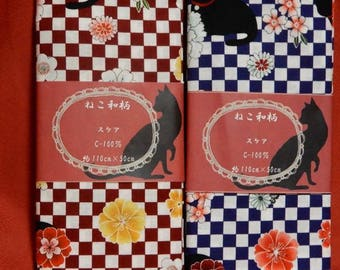 100% Cotton Japanese Traditional Motif With CATS ! 110 cm x 50 cm x2 Colours