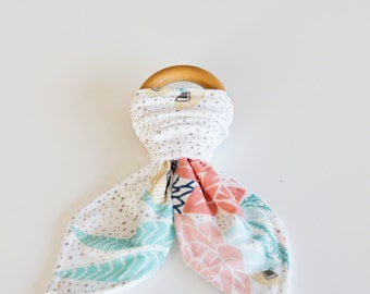 Natural Wood Teething Ring | White, Blue and Pink Floral, Gold Specks