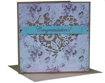 Die Cut Lace Heart Congratulations Greeting Card