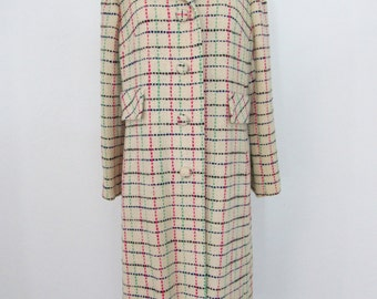 1950s - 60s Cream-colored Woven Wool Coat with Threads in Great 50s & 60s Colors