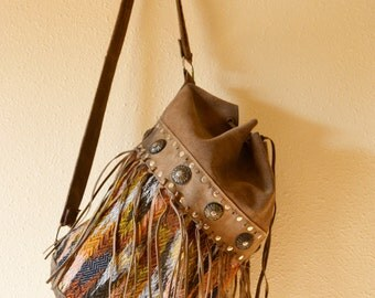 backpack leather and fabric fringed vintage