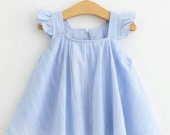 Flutter Sleeve, girl flutter top, spring girl outfit, summer girl outfit, Ligth blue Girl top, peasant top, toddler clothes, girls clothes