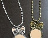 Long Silver or Bronze Owl Mirror Pendant Necklace, Steampunk Owl Mirror Necklace, Real Mirror Pendant Necklace, Cute Owl Mirror Necklace