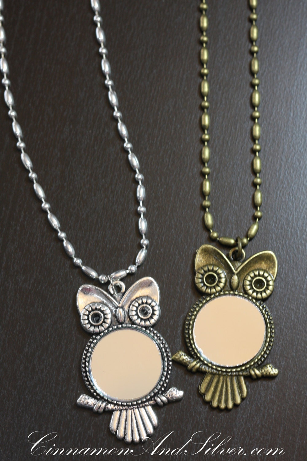 Long silver or bronze owl mirror pendant necklace steampunk for Long silver mirror