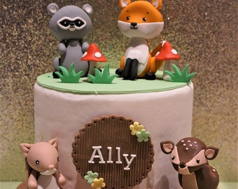 Woodland Animal Cake Toppers - Fox, Raccoon, Deer, Squirrel - 1 Set
