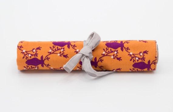 Orange Reindeer Colored Pencil Roll, Pencil Holder, Gray Polka Dots, Orange Purple, White, and Gray Cotton Fabrics, Handmade