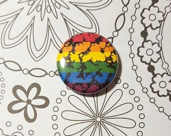 Paint Splashes LGBT Rainbow Flag Button or Magnet