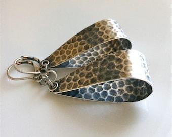 Small Hoop Earrings  Bohemian Earrings  Silver Hoop Earrings  Silver Leverbacks  Hammered Hoops  Boho  Gypsy Dangles