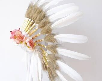 Pretty Pink Flower White Swan Feather Headdress Paradise Gypsies /Wedding Boho Kids Baby Womens Bridesmaid Warbonnet Native Indian Headpiece