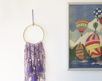 Purple dream catcher, tassel wall hanging, hippie dream catcher, handmade baby mobile, tassel wall decor, purple wall hanging, boho decor