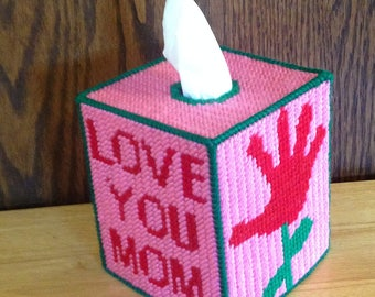 Love You Mom Plastic Canvas Tissue Box Cover, Mothers Day Gift, Gifts for Moms, Needlepoint Canvas, Mom from Daughter, Mom GIfts