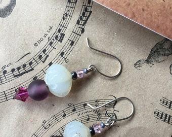 Purple earrings, vintage earrings, drop earrings, vintage glass earrings, dangle earrings, Mother's Day jewellery, gift for her, UK designer