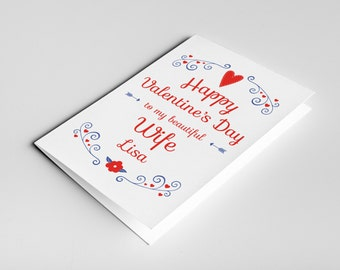 Wife Valentine card, card for wife, wife card, wife gift, Valentine's day card, Valentines wife, wife Valentine, Valentines wife card