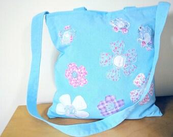 flower, shoulder bag, gift, Birthday gift, flower bag, flower gift, tote, tote bag, zipped bag, flowers