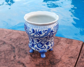 Vintage White and Blue Footed Planter Vase, Large Ceramic Hand Painted White & Blue Vase Cachepot