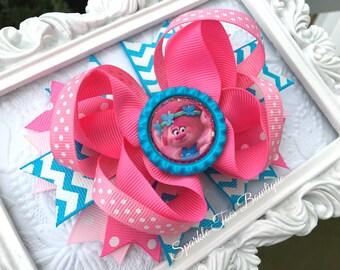 POPPY Bow - TROLLS Hair bow - Trolls Party - Girls Birthday Bow - Polka dot bow - Trolls movie Bow - Poppy bow - Trolls outfit