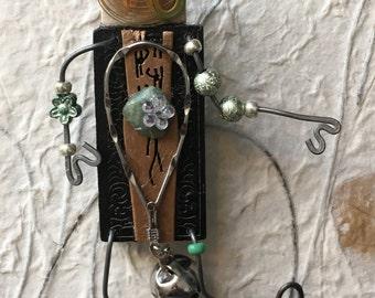 Zen Steampunk Pin Doll,Orient Express,Wearable Art,Stargazer Doll,Whats Your Story,Storyteller Art Pin,Assemblage Art,Recycled,Reclaimed Art