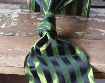green and black striped taffeta ribbon