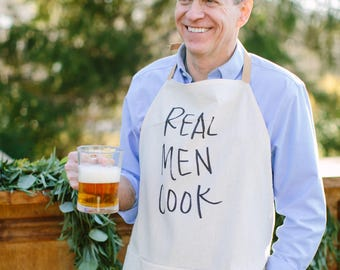 Apron, Real Men Cook, present, grilling apron, menswear, housewarming gift, kitchen decor