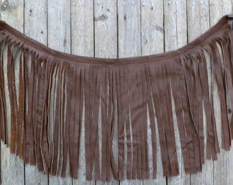 Leather Festival / Tribal /  Pixie Skirt - size 6 - upcycled, recycled, repurposed clothing