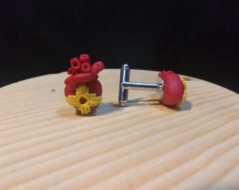 Red and Yellow Anatomical Heart Cuff Links, Handmade polymer clay southwest jewelry, new mexico zia, made in Albuquerque