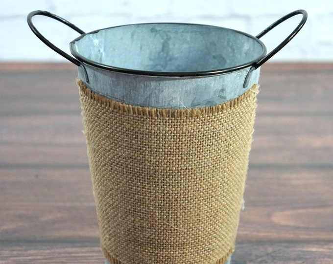 Burlap Accent Metal Bucket