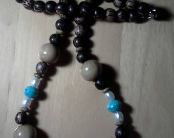 Mixed Wood & Acrylic Turquoise Colored Bead Necklace