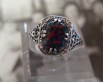 Lovely Sterling Filigree Black Opal Ring Size 6.75