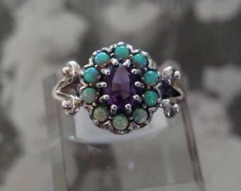 Pretty Sterling Amethyst & Opal  Ring  Size 5.75