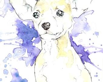 """Custom Watercolor & Pen Pet Portraits (5""""x7"""")"""